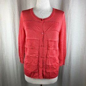 Talbots Coral Tiered Cardigan Sweater S